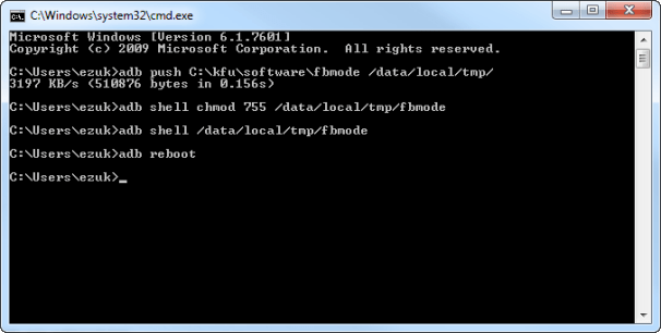 Command prompt window after switch to fastboot mode.