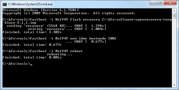 Command prompt window after installation of recovery image.