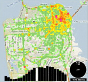 Skyhook's SpotRank data-intelligence service predicts the density of people in predefined urban square-block areas worldwide at any hour, any day of the week. Image: Courtesy of Skyhook