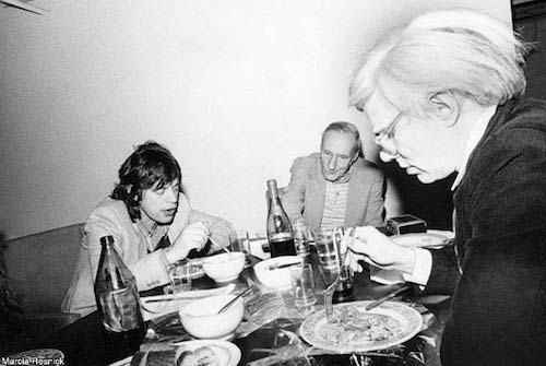 Rolling Stones Mick Jagger, William S. Burroughs, Andy Warhol