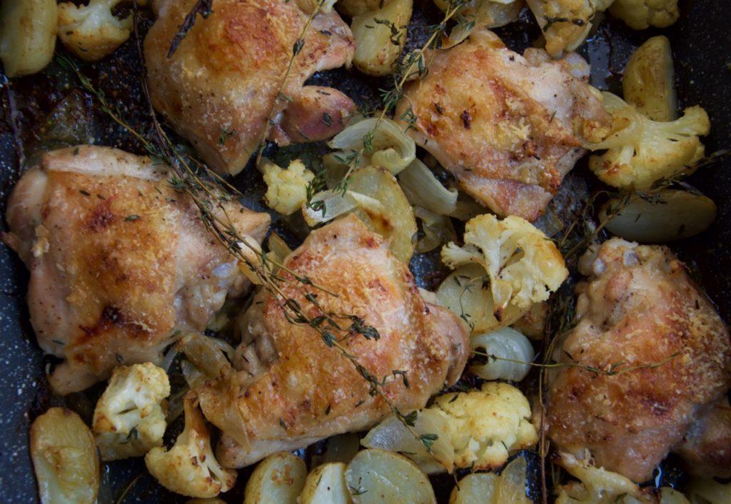 Roast chicken cauliflower thyme