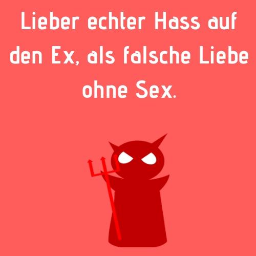 Ex Sprüch - hass - Lieber echter Hass auf den Ex, als falsche Liebe ohne Sex.