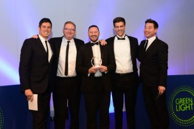 ExaClair win Award at Green Light Event 2017 with Vernon Kay, Mark Daisley, Garry Wright, Tom Davey and Adrian Butler