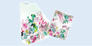 Clairefontaine Blooming stationery collection featuring lever arch files and notebooks
