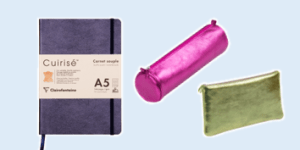 Clairefontaine Cuirisé genuine leather notebooks and pencil cases