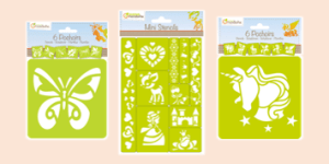 Avenue Mandarine stencils to use for art and craft activities with paints and pencils