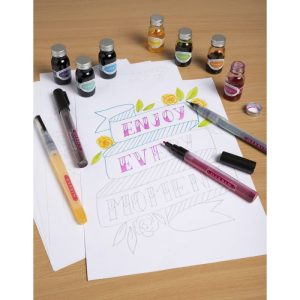 Herbin Hand Lettering Practice Pad with Refillable Markers