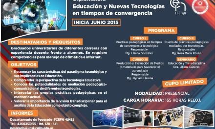 Posgrado: Comienza la Diplomatura en Educación y Nuevas Tecnologías en tiempos de convergencia