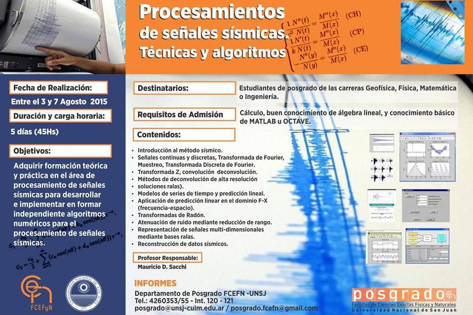 Curso de posgrado: Procesamientos de señales sísmicas. Técnicas y algoritmos