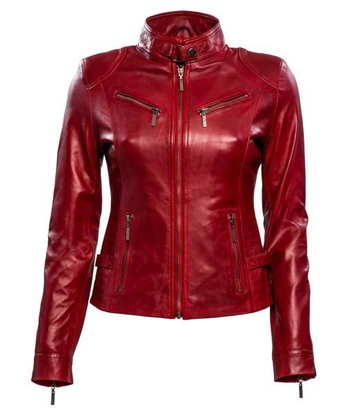 Dames biker jasje - rbm-446 rood