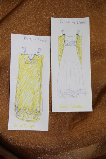 Gold sheer draping, with my sketches of how the draping will sit