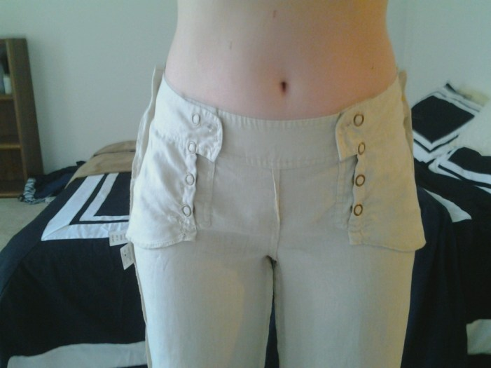 Inside out pants pinned on the sides