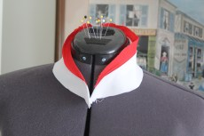 Muslin Mock up Collar - don't worry the red will actually be piping on the real thing