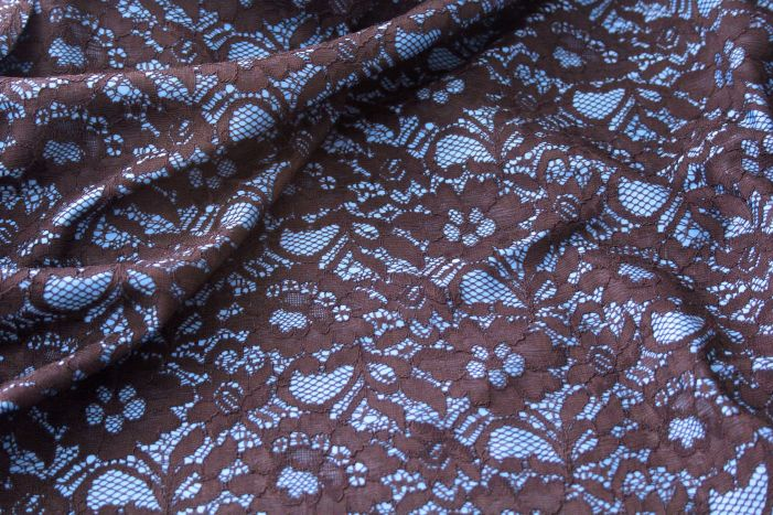 Teal and Black Lace Fabric
