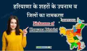 हरियाणा के शहरों के उपनाम - Nickname of Haryana District