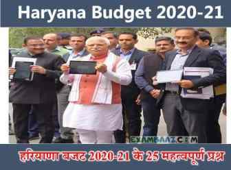 Haryana Budget 2020 Important Questions (हरियाणा बजट 2020-21 के 25 महत्वपूर्ण प्रश्न)