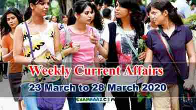Photo of Weekly Current Affairs in Hindi: 23 March to 28 March 2020