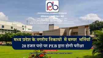 मध्य प्रदेश के नगरीय निकायों में रिक्त 20  हजार पदों पर MPPEB द्वारा की जाएगी भर्तियां, पढ़ें पूरी खबर!!
