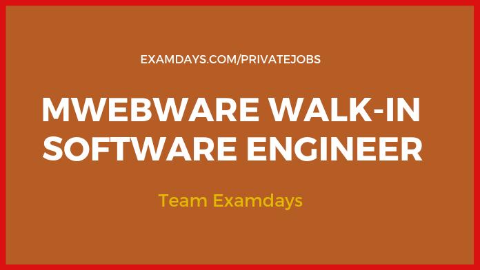 MWEBWARE WALK-IN SOFTWARE ENGINEER