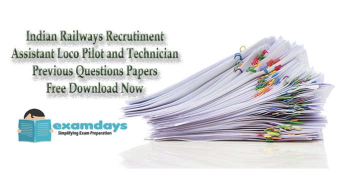 Assistant Loco Pilot Technician ALP Previous Question Papers - Examdays