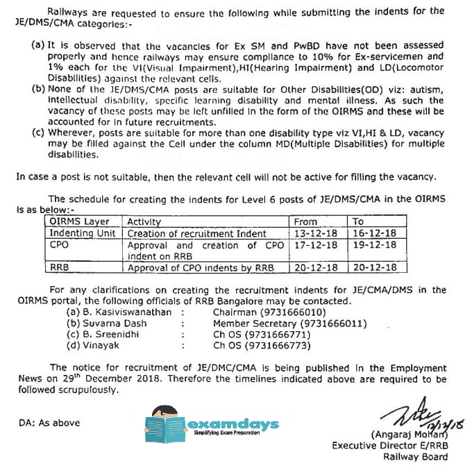 RRB JE,CMA,And DMS Notification 2018
