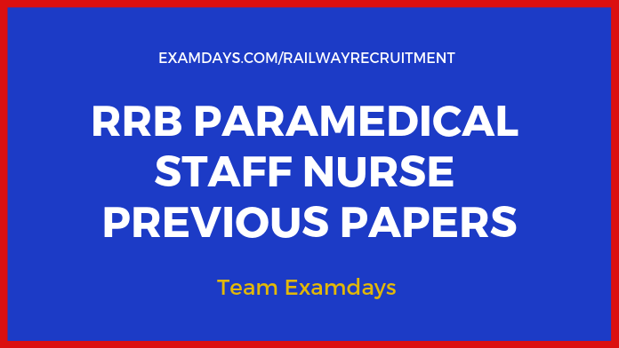 Download RRB Paramedical Previous Papers PDF lab supertendent