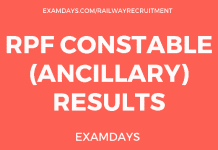 RPF Constable (Ancillary) Results