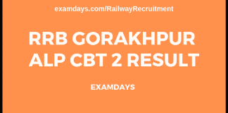 rrb gorakhpur alp cbt 2 result