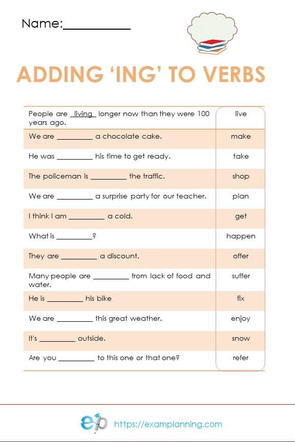 adding ing to words worksheets, adding ing to verbs worksheet