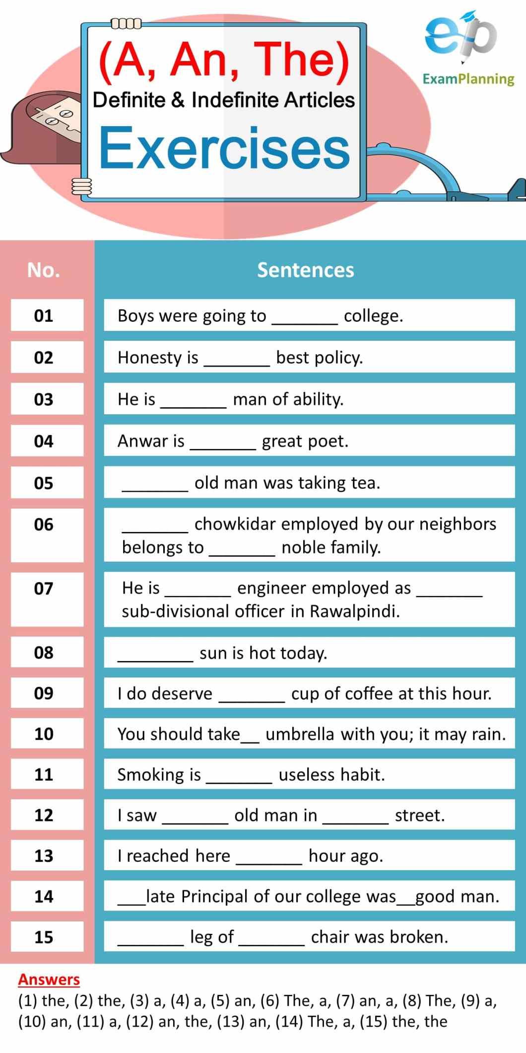 Definite and Indefinite Articles (A, An, The) Exercises