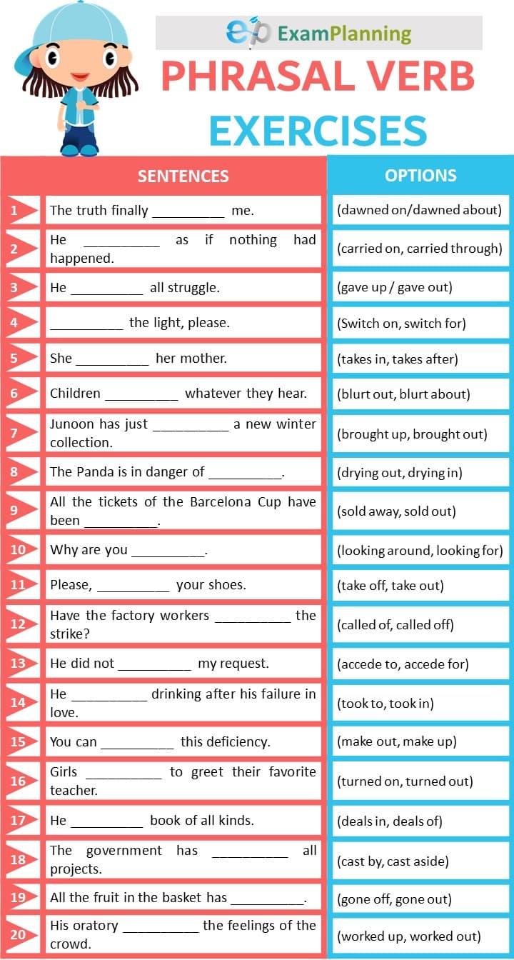 Phrasal verbs exercises