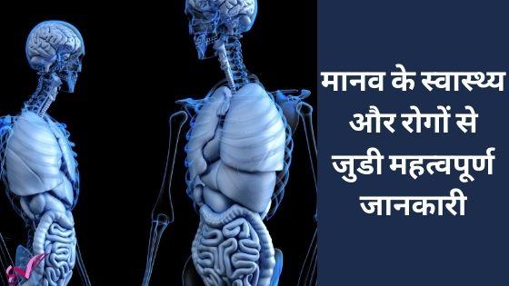 मानव के स्वास्थ्य और रोगों से जुडी महत्वपूर्ण जानकारी