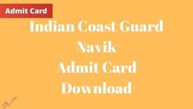 Photo of Indian Coast Guard Navik Admit Card Download