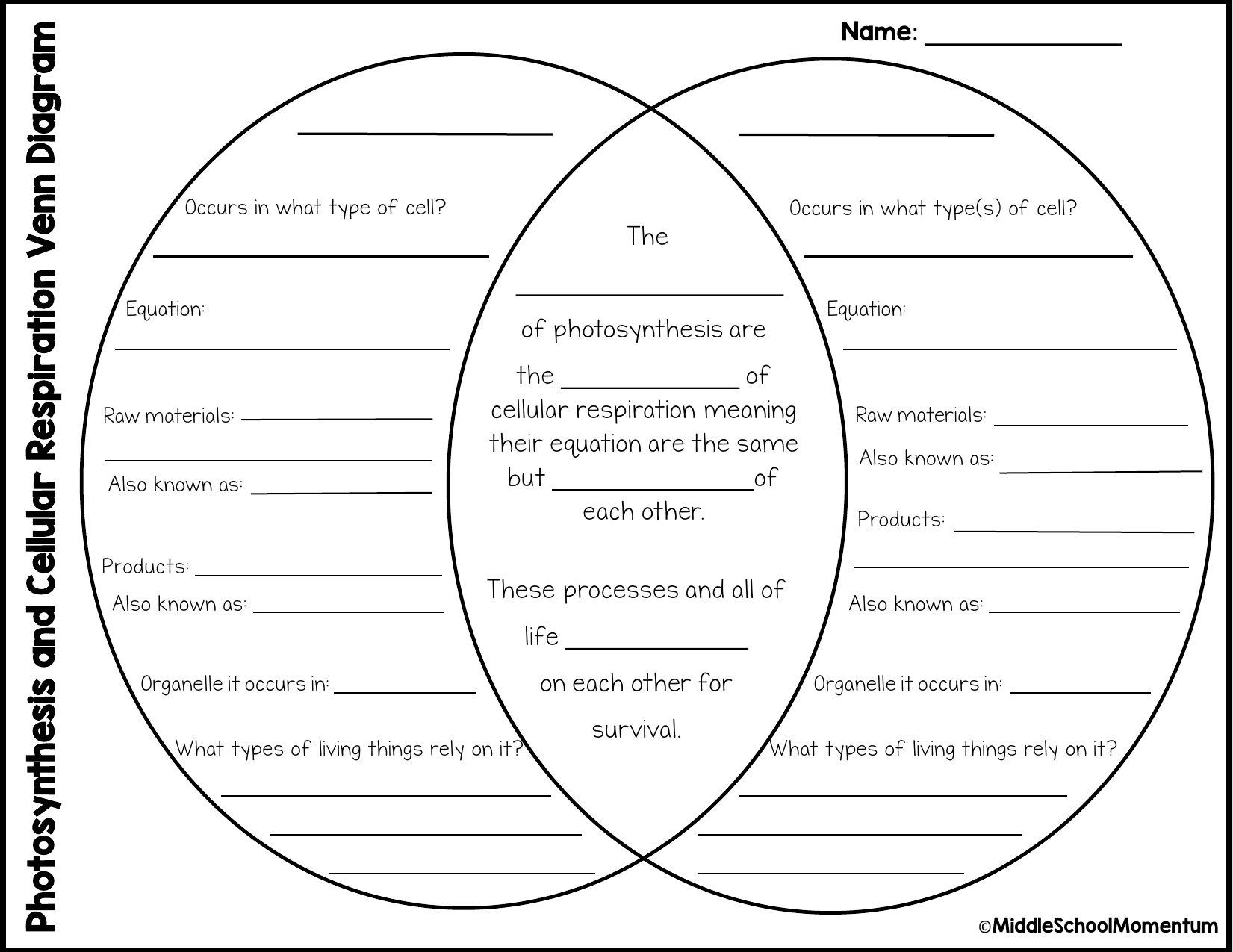 Venn Diagram Of Photosynthesis And Cellular Respiration