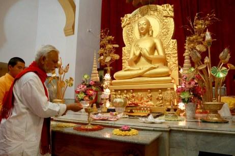 Inside the Budha shrine, Mahabodhi Society, Sarnath, Varanasi, UP