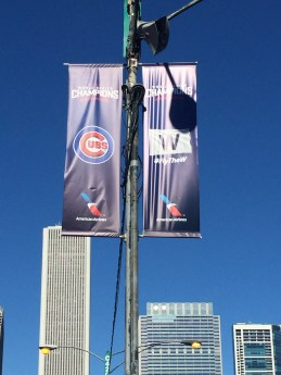 Cubs championship banner lined championship parade route (Photo: @exavierpope)