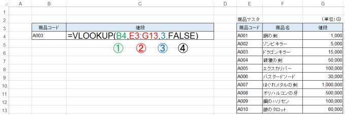 エクセルVLOOKUP関数の入力で、FALSE入力の確認