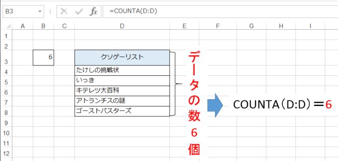 COUNTA関数の例