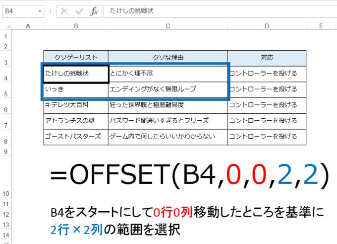 OFFSET関数の事例2