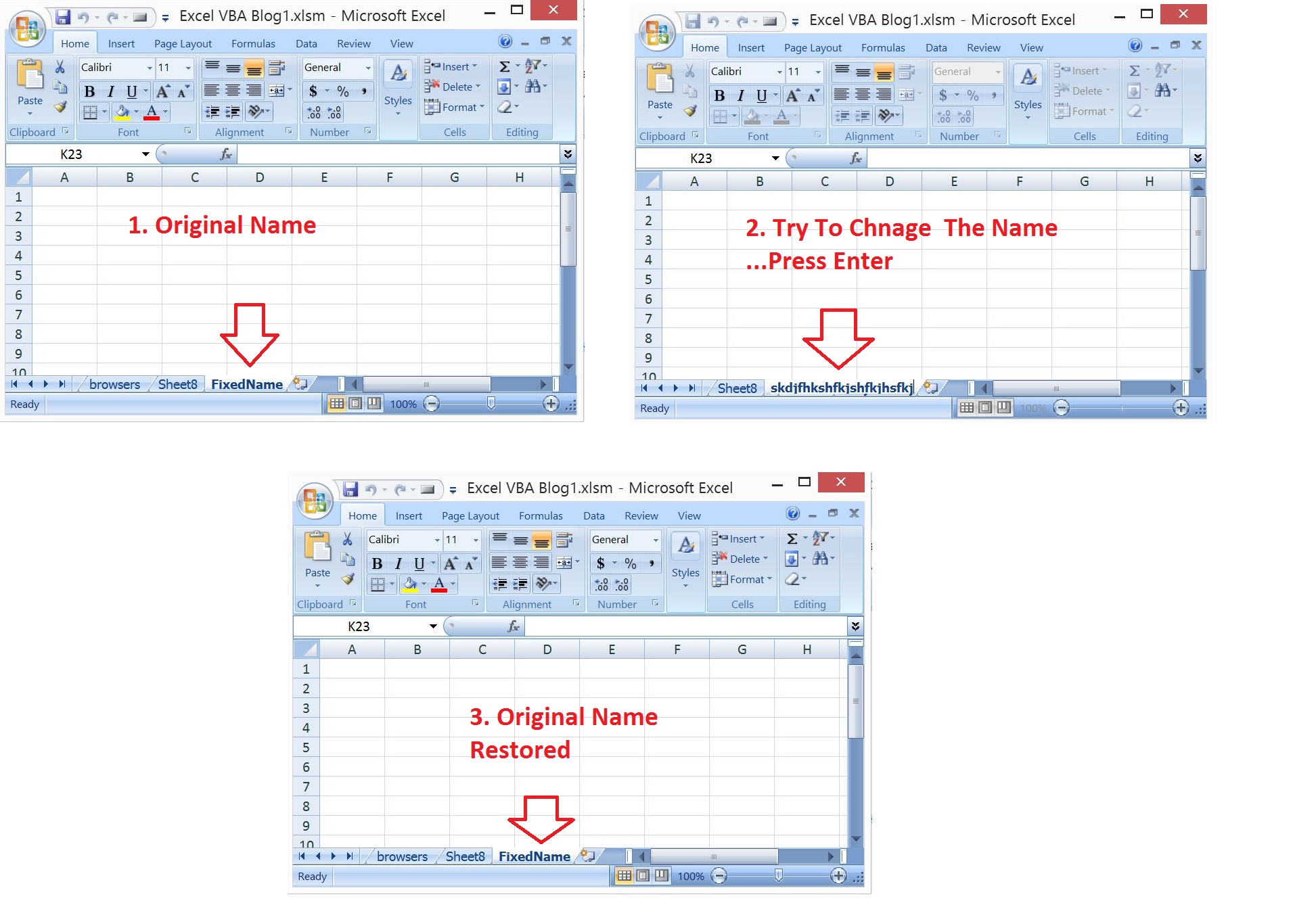 Excel Vba Prevent Changing The Worksheet Name