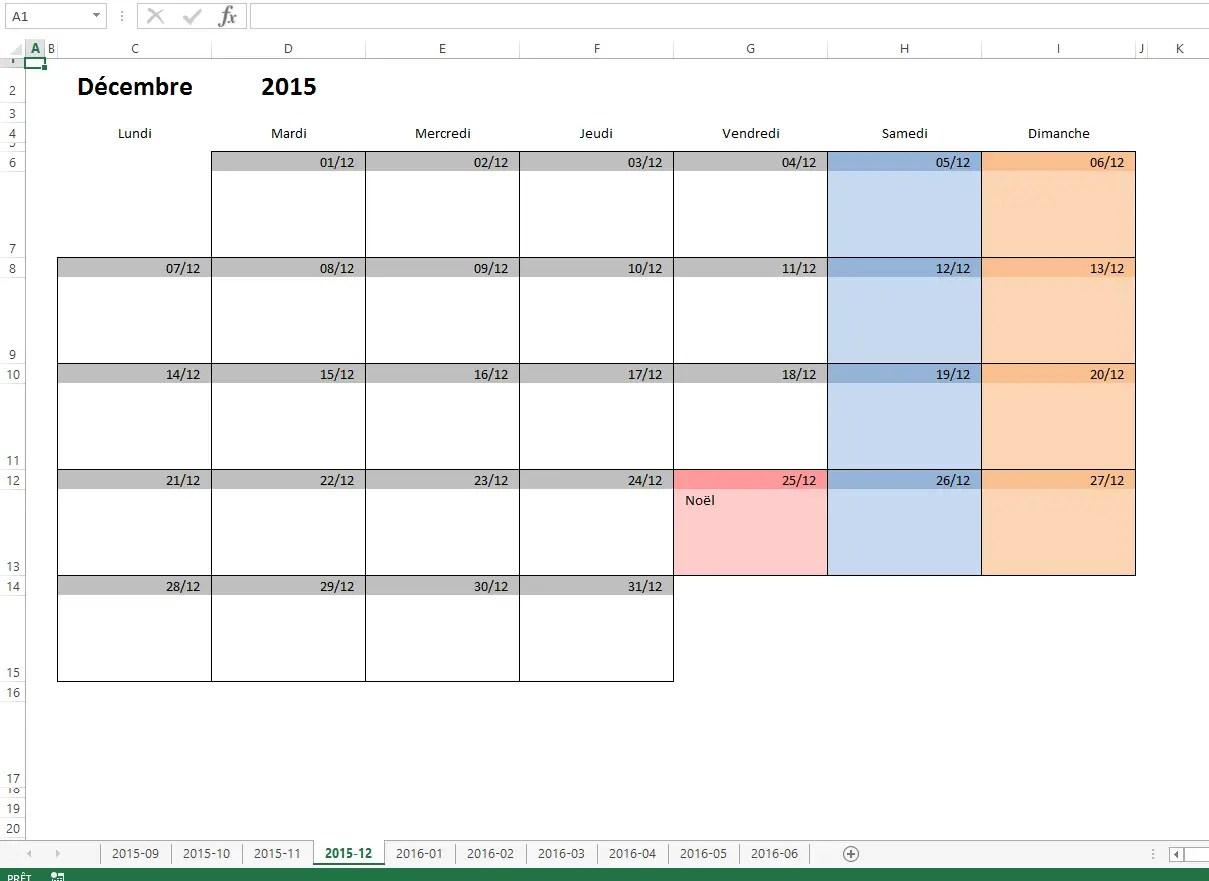 Modele Planning Excel Mensuel
