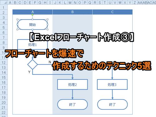 【Excelフローチャート作成③】フローチャートを爆速で作成するためのテクニック5選