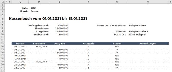 Excel Kassenbuch Filter und Druck Monat