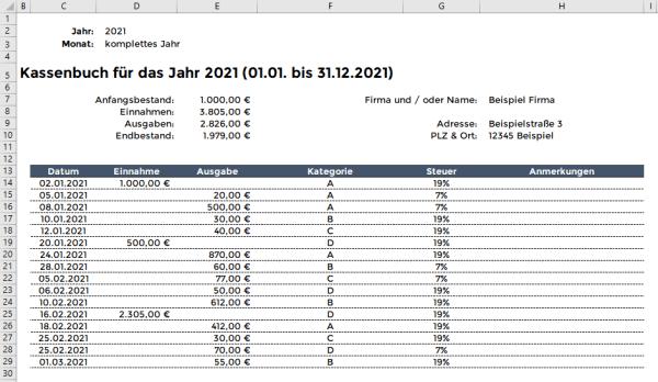 Excel Kassenbuch Filter
