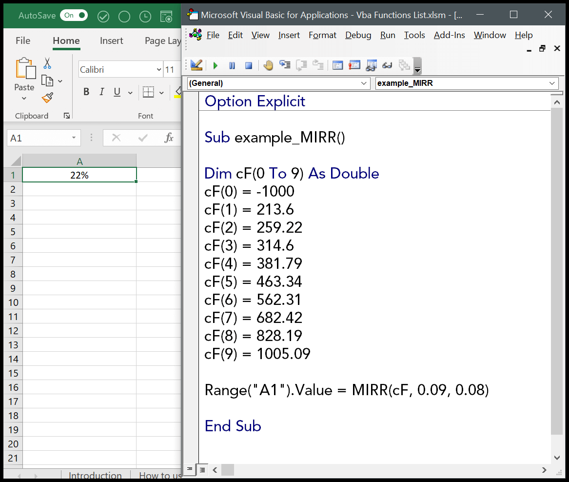 How To Use The Vba Mirr Function Syntax Example