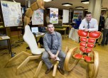 Pictured are twin brothers Dermot and Daniel Milner from Dunmanway Co Cork. They used biomimicry to construct their chairs mimicing insects in nature as their inspiration. The brothers constructed the chairs as their Final Year Projects in Btech Ed in Materials and Engineering Technology from the University of Limerick. Pic Arthur Ellis/Press22.