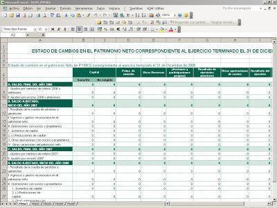 Elementos de las cuentas anuales: ECPN en Excel