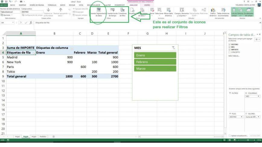 Filtrar datos en las tablas dinámicas Excel