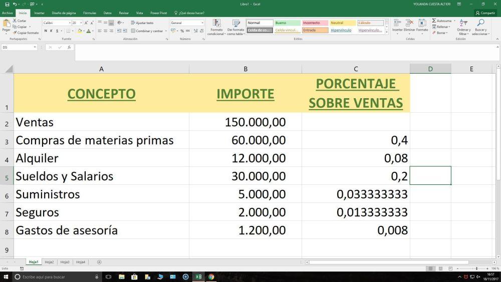 análisis con Excel de los gastos e ingresos