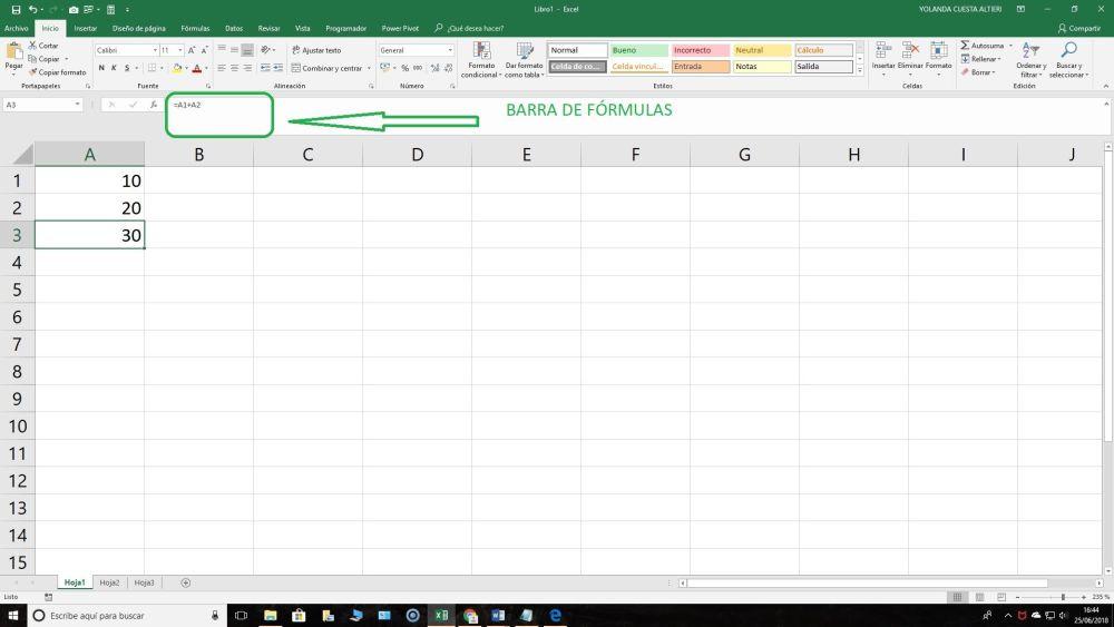 crear una fórmula en Excel